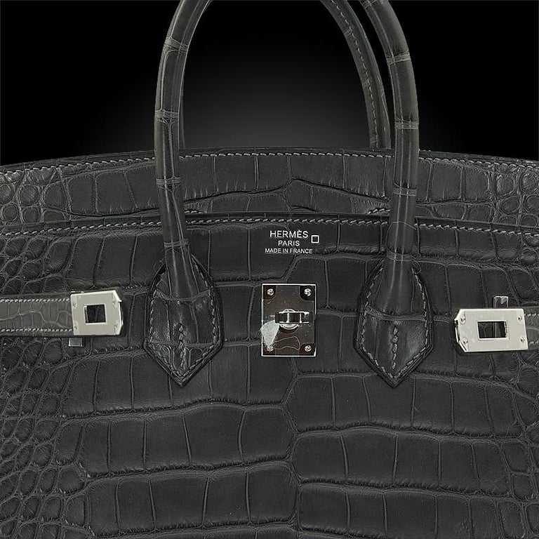 Women's HERMES 25 cm Alligator Graphite Birkin Bag For Sale