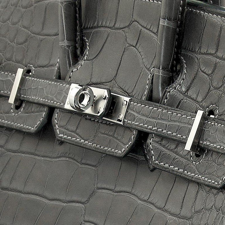 HERMES 25 cm Alligator Graphite Birkin Bag For Sale 1