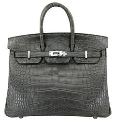 HERMES 25 cm Alligator Crocodile Graphite Birkin Bag
