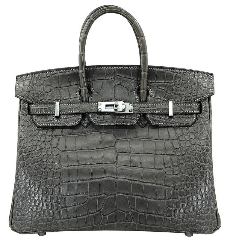 HERMES 25 cm Alligator Graphite Birkin Bag For Sale