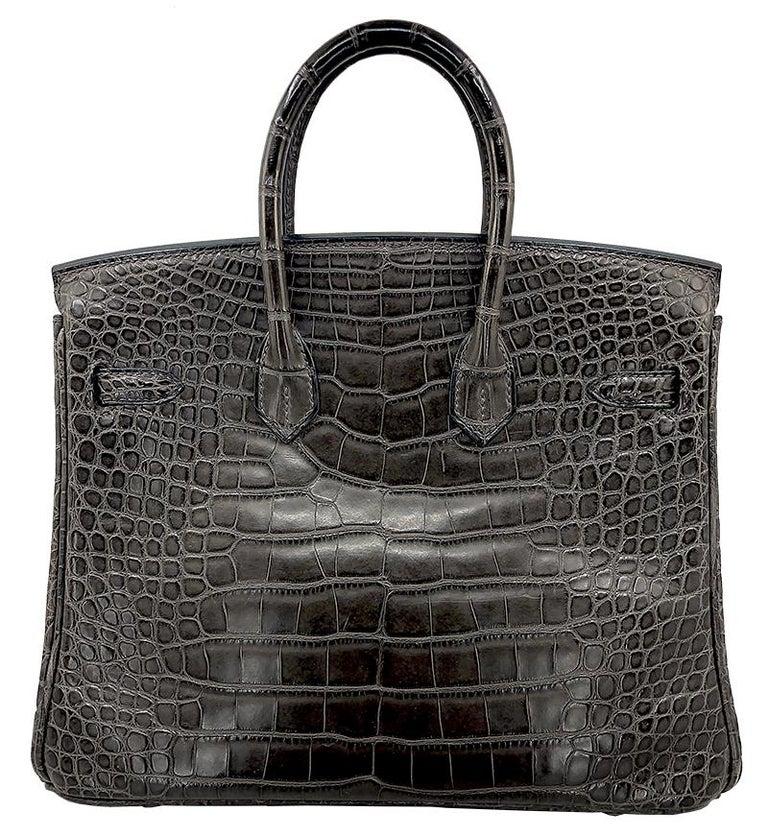 100% Authentic Hermes 25cm Brown Corcodile Birkin Bag  COLOR: Brown MATERIAL: Crocodile ORIGIN: France CONDITION: Pristine INCLUDES: Dustbag, clochette, lock, and key