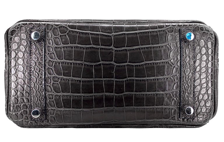 Black HERMES 25 cm Brown Crocodile Birkin Bag For Sale
