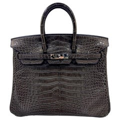 HERMES 25 cm Brown Crocodile Birkin Bag