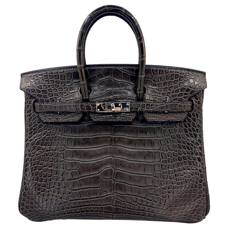 HERMES 25 cm Brown Crocodile Birkin Bag For Sale