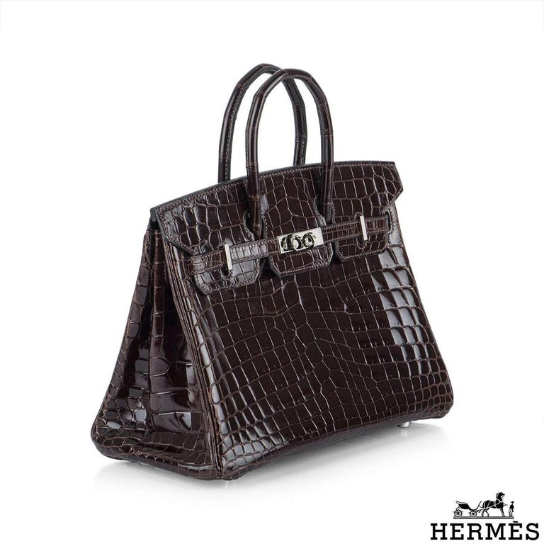Black Hermès 25cm Cacoan Shiny Niloticus Crocodile Birkin Bag For Sale