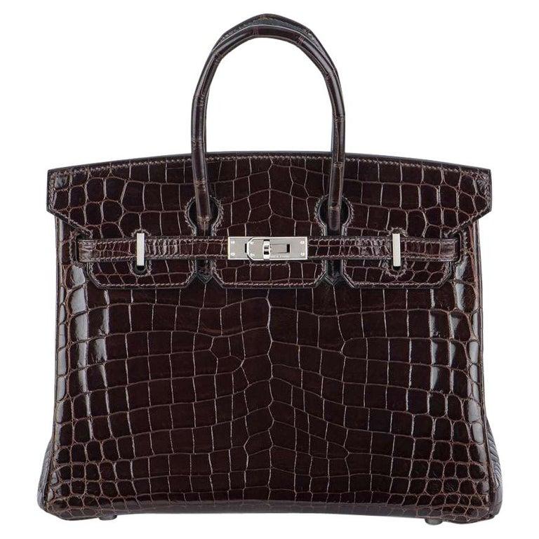 Hermès 25cm Cacoan Shiny Niloticus Crocodile Birkin Bag For Sale