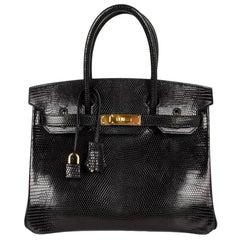Hermes 30 Birkin Bag Black Lizard Gold Hardware RARE