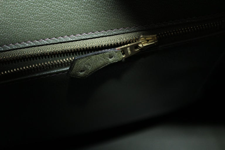 Hermes 30 cm Green Leather Birkin Bag For Sale 6