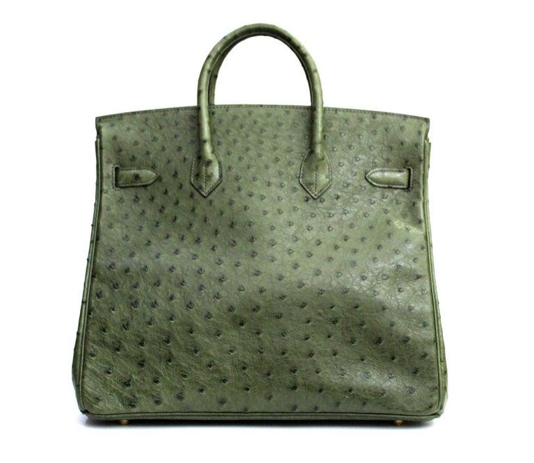 Black Hermes 30 cm Green Leather Birkin Bag For Sale