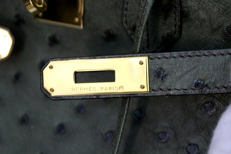 Hermes 30 cm Green Leather Birkin Bag For Sale 3
