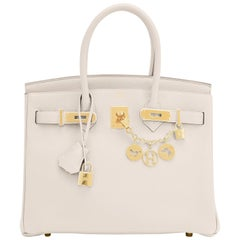 Hermes 30cm Birkin Craie Chalk Off White Gold Hardware Bag Y Stamp, 2020