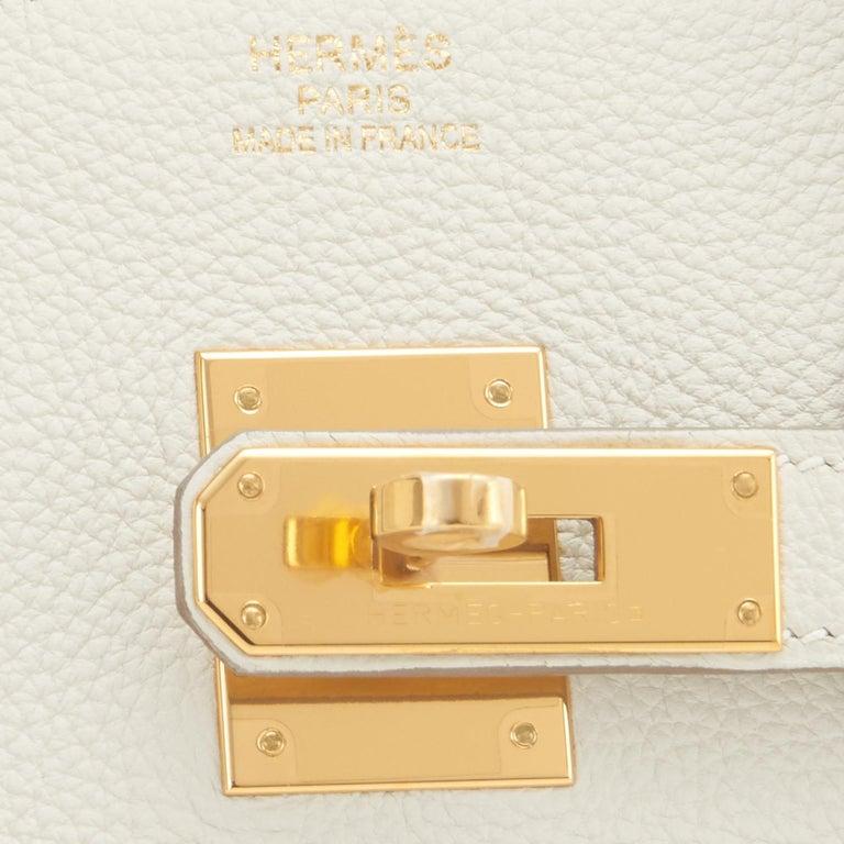 Hermes 30cm Birkin Craie Chalk Off White Gold Hardware For Sale 6