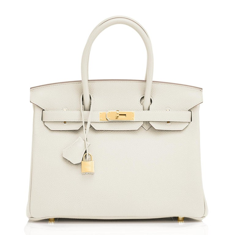 Hermes Craie 30cm Togo Birkin Palladium Hardware New with Box New or Never Used. Store fresh. Pristine Condition (with plastic on hardware) Perfect gift! Comes in full set with lock, keys, clochette, sleeper, raincoat, and orange Hermes box. Pure