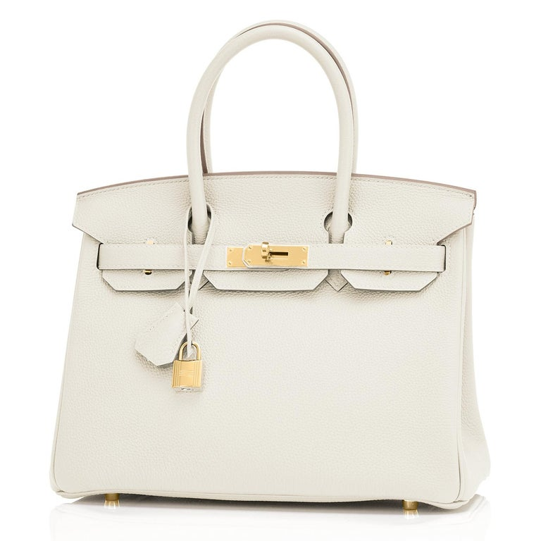 Hermes 30cm Birkin Craie Chalk Off White Gold Hardware In New Condition For Sale In New York, NY