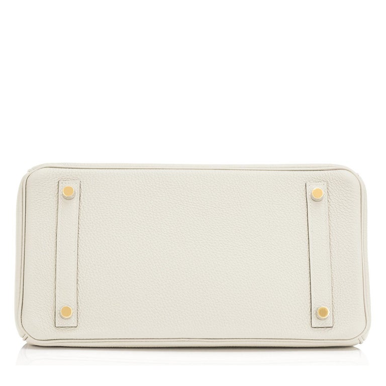Hermes 30cm Birkin Craie Chalk Off White Gold Hardware For Sale 3