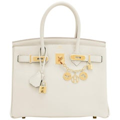 Hermes 30cm Birkin Craie Chalk Off White Gold Hardware