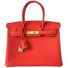 Hermes 30cm Birkin Rouge de Coeur Newest Red Togo Gold Hardware