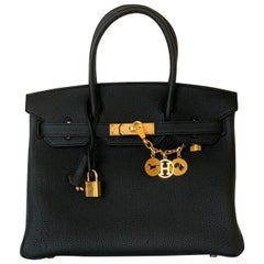 Hermes Birkin 30cm Black  Togo Gold Bag