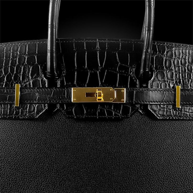 Women's Hérmes 30cm Black Crocodile / Togo Birkin Touch Bag For Sale
