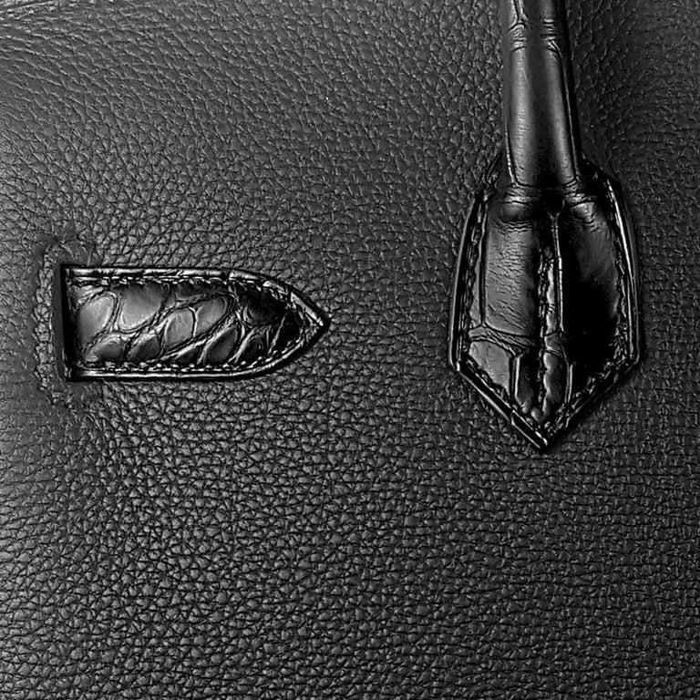 Hérmes 30cm Black Crocodile / Togo Birkin Touch Bag For Sale 1