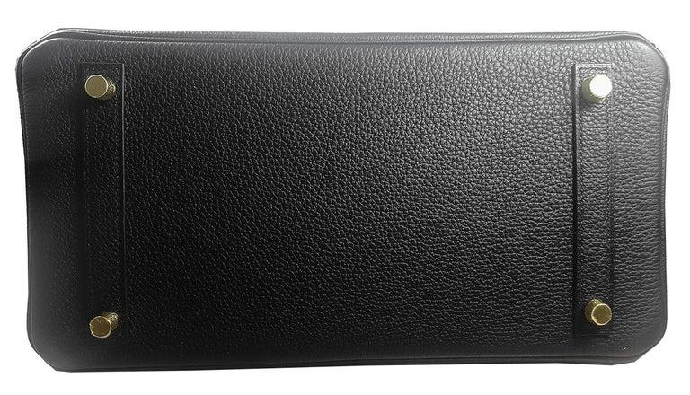 Hérmes 30cm Black Crocodile / Togo Birkin Touch Bag For Sale 2