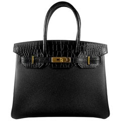 Hérmes 30cm Black Crocodile / Togo Birkin Touch Bag