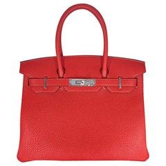 HERMES 30cm Calfskin Rouge Birkin Bag