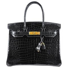 Hérmes 30cm Crocodile Black Birkin Bag