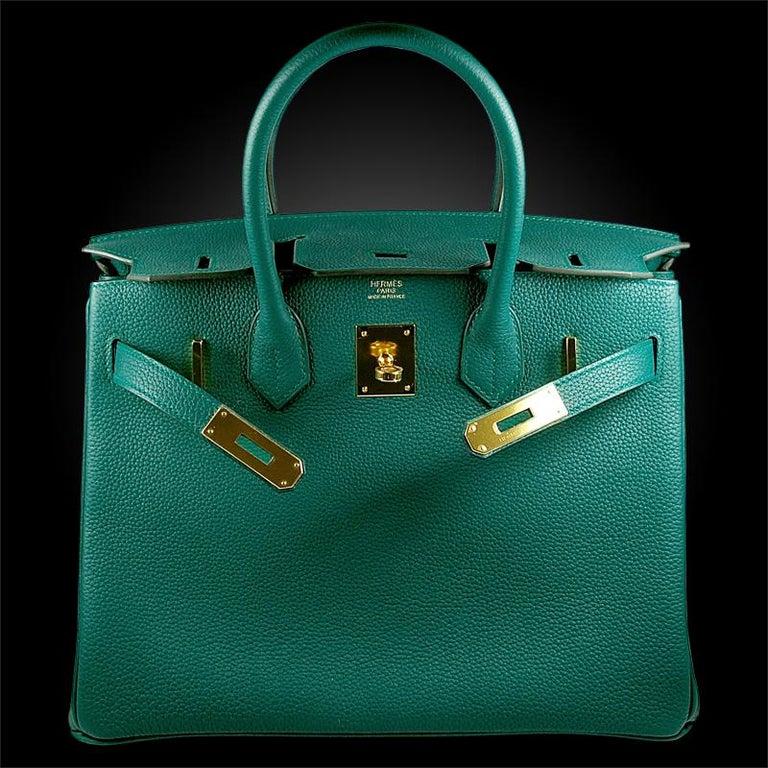 Blue Hérmes 30cm Malachite Togo Calfskin Birkin Bag For Sale