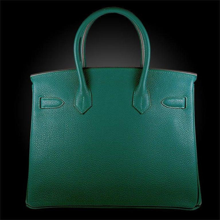 Hérmes 30cm Malachite Togo Calfskin Birkin Bag In New Condition For Sale In New York, NY