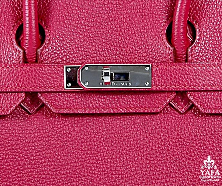HERMES 30cm Red Birkin Bag with Silver Hardware 100% Authentic Hermes Birkin Bag COLOR: Red MATERIAL: Leather HARDWARE: Silver ORIGIN: France CONDITION: Good Includes: Dustbag, lock, and key