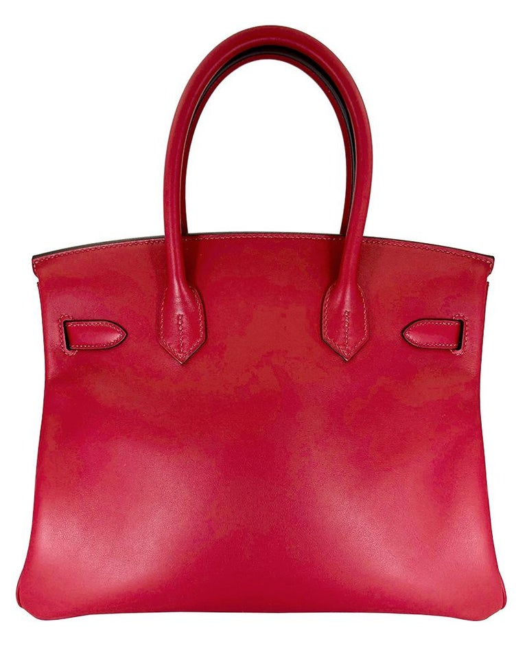Red HERMES 30cm Tressage De Cuir Veau Swift Epson Birkin Bag For Sale