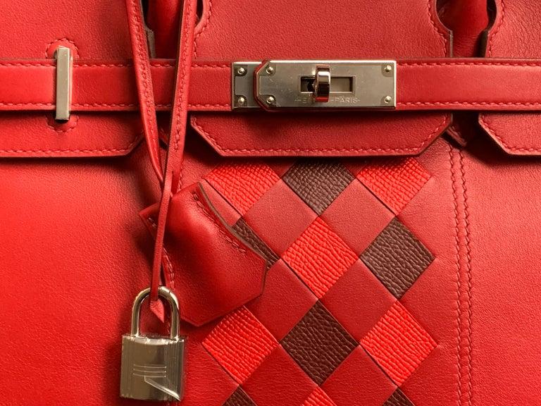 Women's or Men's HERMES 30cm Tressage De Cuir Veau Swift Epson Birkin Bag For Sale
