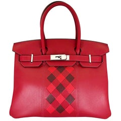 HERMES 30cm Tressage De Cuir Veau Swift Epson Birkin Bag