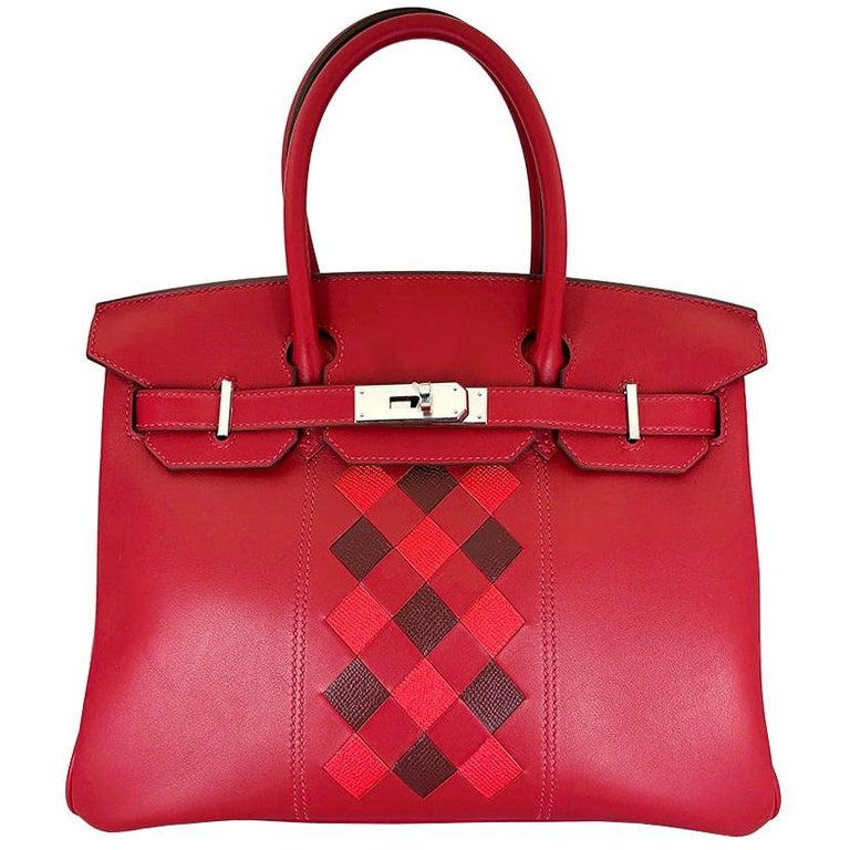 HERMES 30cm Tressage De Cuir Veau Swift Epson Birkin Bag For Sale