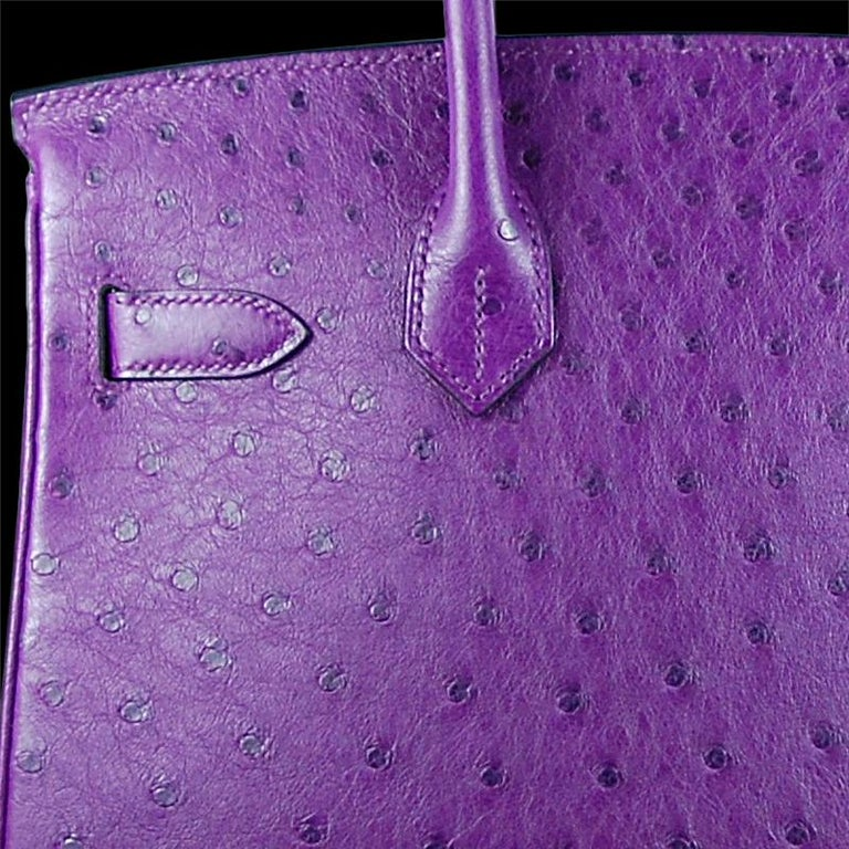 Gray Hérmes 30cm Violet Ostrich Birkin Bag For Sale