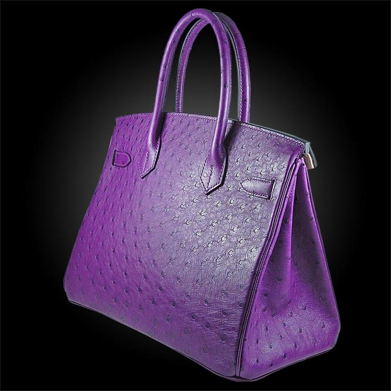 Hérmes 30cm Violet Ostrich Birkin Bag In New Condition For Sale In New York, NY