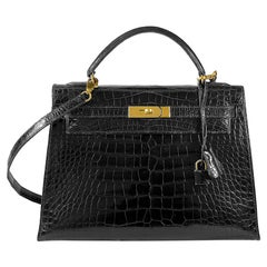 HERMES 32cm Crocodile Alligator Kelly Bag Noir