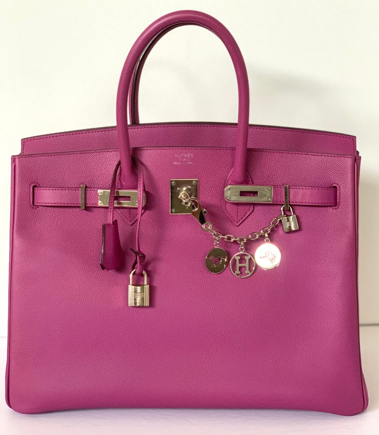 Hermès Cyclamen Birkin 35cm  Cyclamen, a purple in same family as Anemone Epsom Leather Palladium This is a great bag at this amazing price!  Tonal stitching, two straps with front toggle closure, clochette with lock and two keys and double rolled