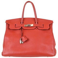 Hermès 35 cm Birkin with Platinum Hardware Red Togo Leather