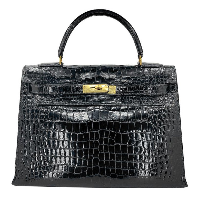 Women's or Men's HERMES 35 cm Crocodile Black Kelly Bag For Sale