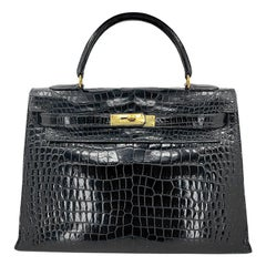 HERMES 35 cm Crocodile Black Kelly Bag