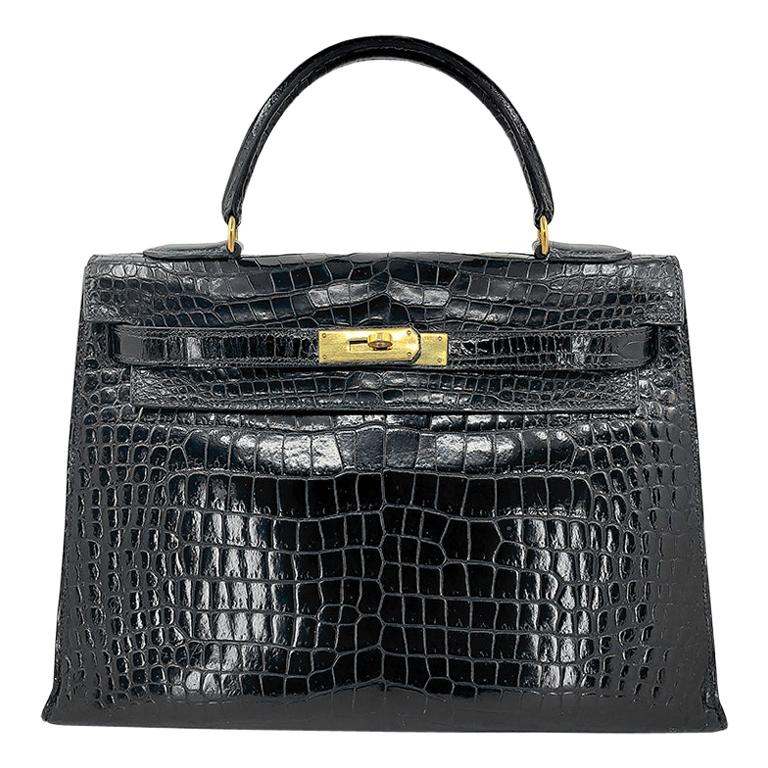 HERMES 35 cm Crocodile Black Kelly Bag For Sale