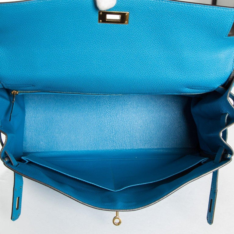 Hermes 35 cm Blue Izmir Kelly Bag Clemence leather For Sale 8