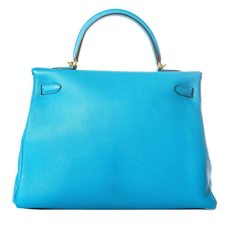 Women's Hermes 35 cm Blue Izmir Kelly Bag Clemence leather For Sale