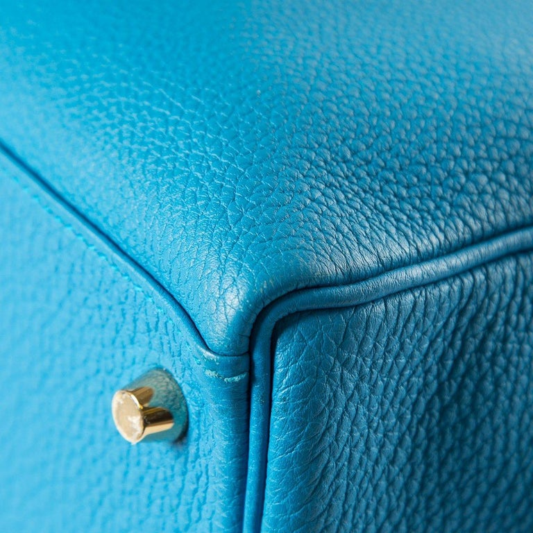 Hermes 35 cm Blue Izmir Kelly Bag Clemence leather For Sale 2