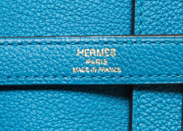 Hermes 35 cm Blue Izmir Kelly Bag Clemence leather For Sale 5