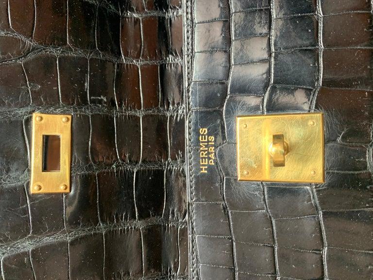 HERMES 35 cm Crocodile Black Kelly Bag For Sale 2