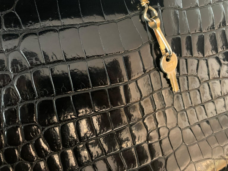 HERMES 35 cm Crocodile Black Kelly Bag For Sale 3