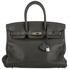 Hermes 35 Gris Elephant Clemence Birkin Bag